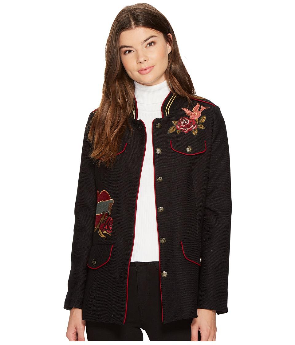 XOXO - Long Embroidered Military Jacket (Black) Women's Coat