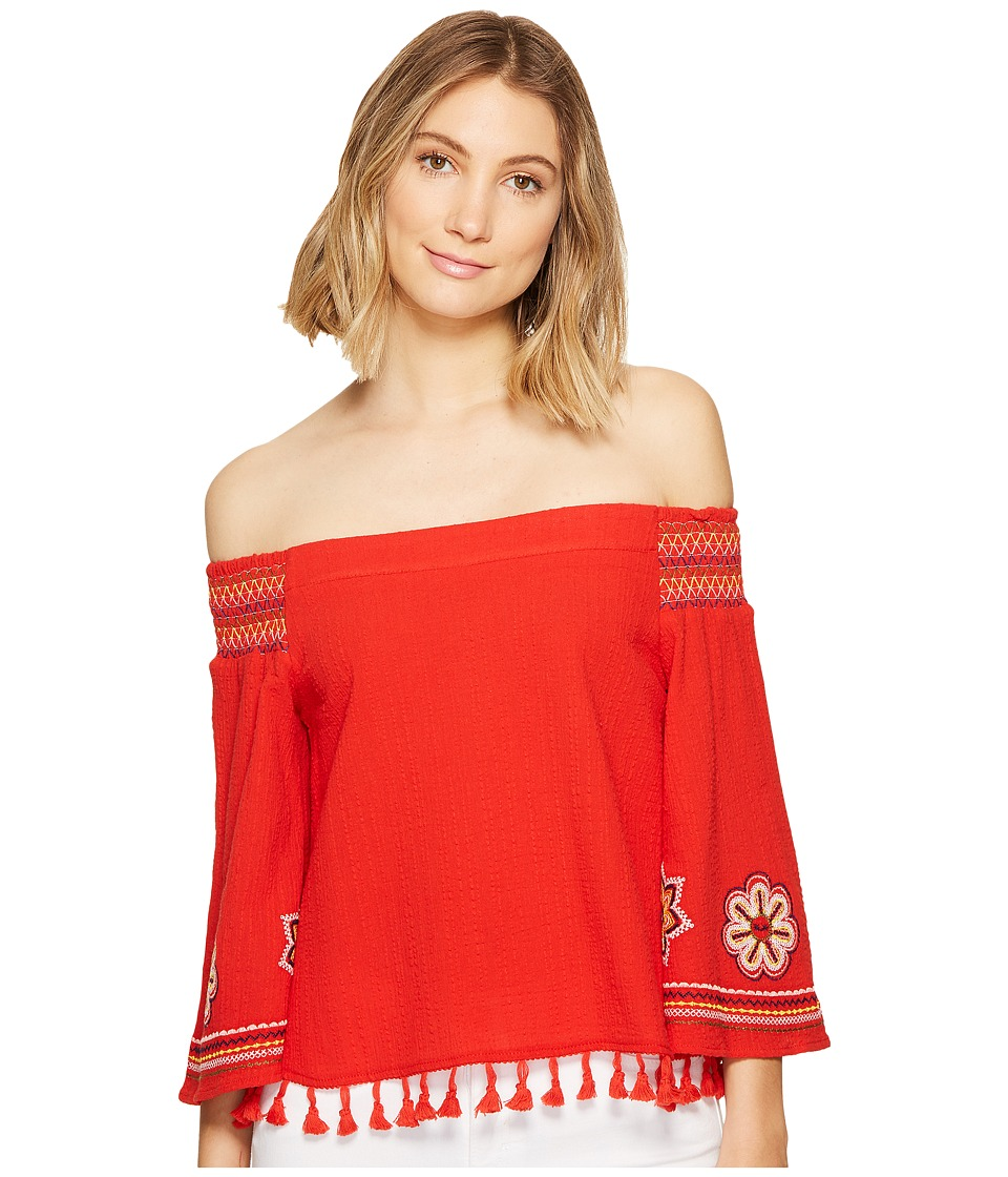 XOXO - Smocked Off the Shoulder Embroidered Top (Red) Women's Clothing