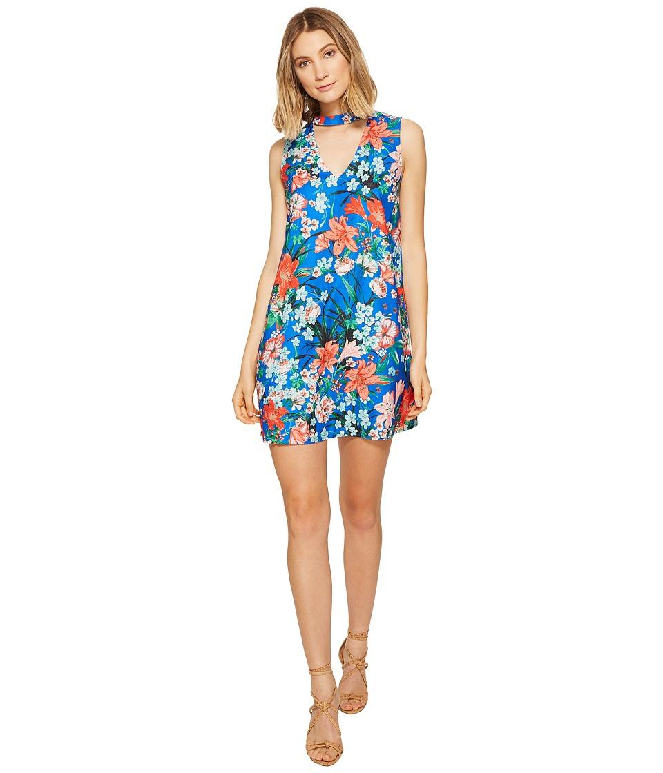 XOXO - Printed Sleeveless Choker Dress (Cobalt Multi) Women's Dress