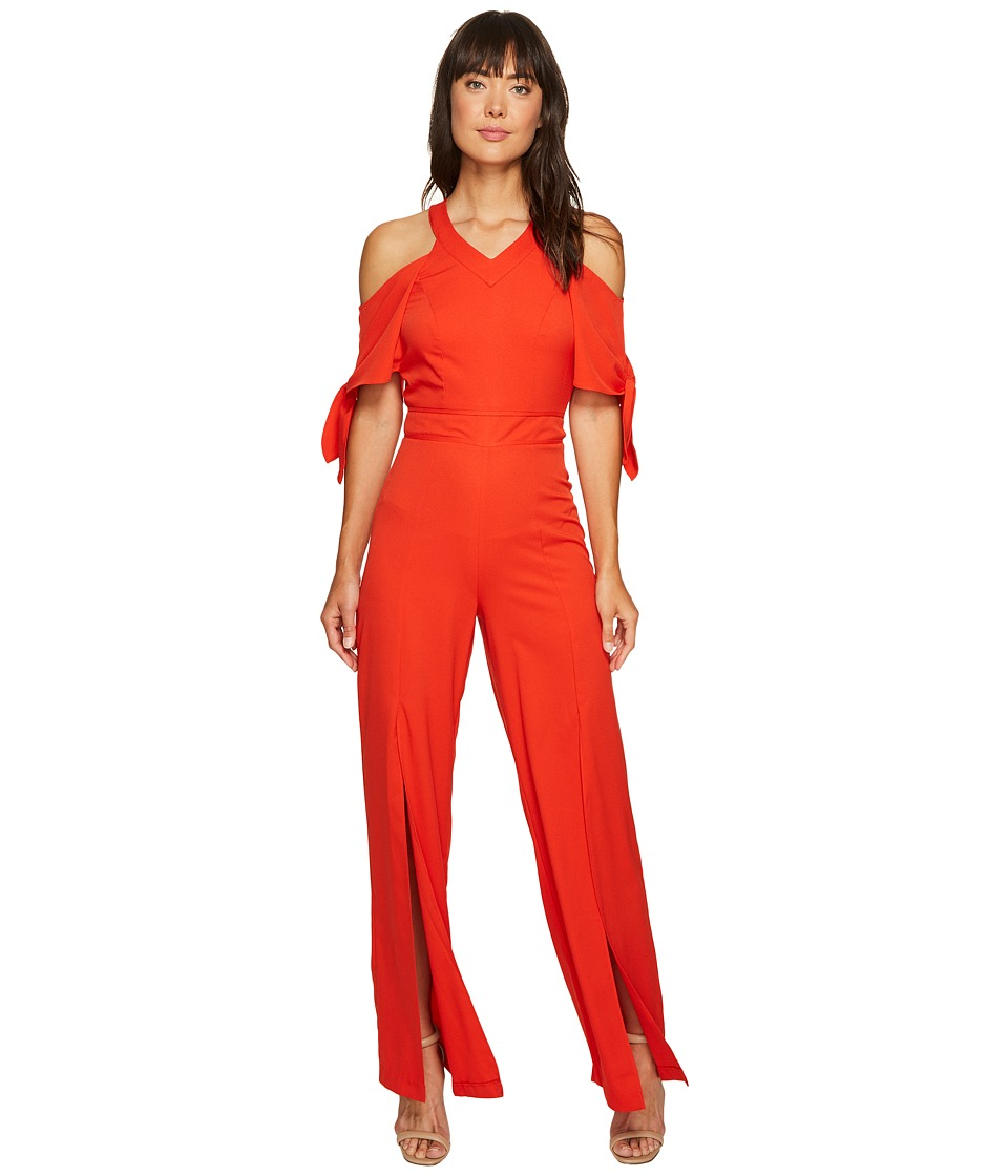 XOXO - Cold Shoulder V-Neck Jumpsuit w/ Slits (Red) Women's Jumpsuit & Rompers One Piece