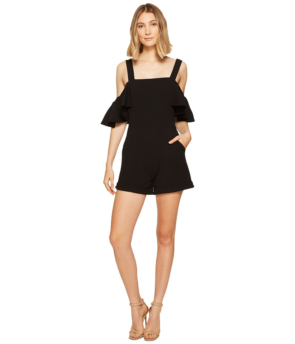 XOXO - Cold Shoulder Ruffle Sleeve Romper (Black) Women's Jumpsuit & Rompers One Piece