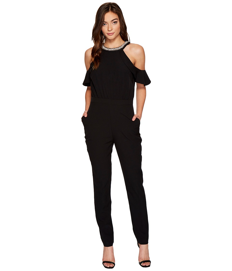 XOXO - Ruffle Cold Shoulder Jumpsuit (Black) Women's Jumpsuit & Rompers One Piece
