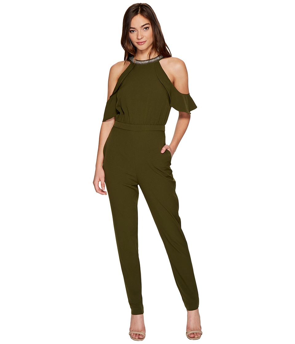 XOXO - Ruffle Cold Shoulder Jumpsuit (Olive) Women's Jumpsuit & Rompers One Piece