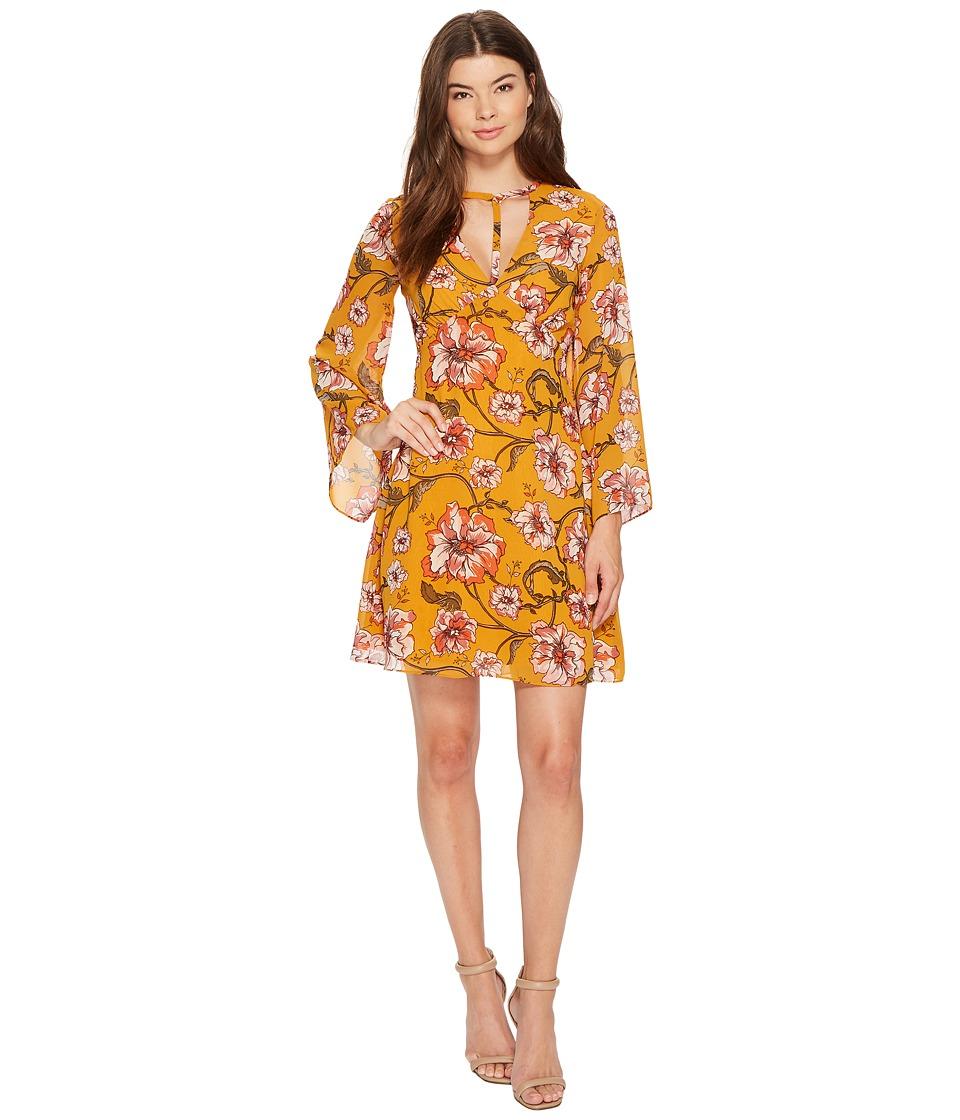 XOXO - Printed Harness Neck Dress (Gold Multi) Women's Dress