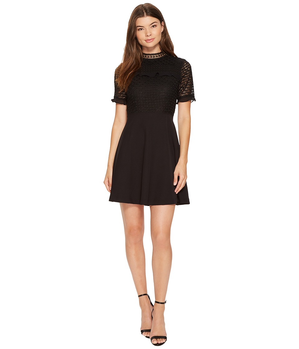 XOXO - Mixed Lace Skater Dress (Black) Women's Dress