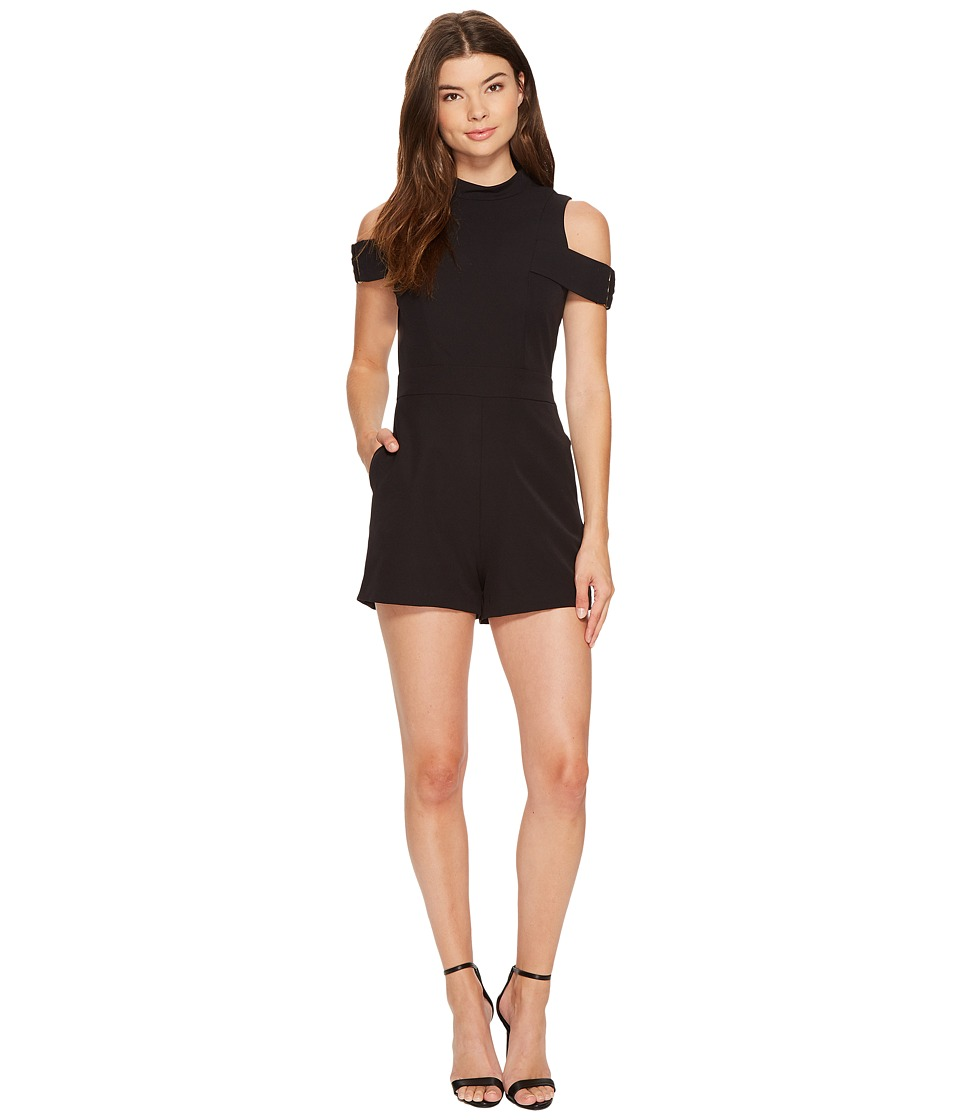 XOXO - Metal Trim Strapped Romper (Black) Women's Jumpsuit & Rompers One Piece