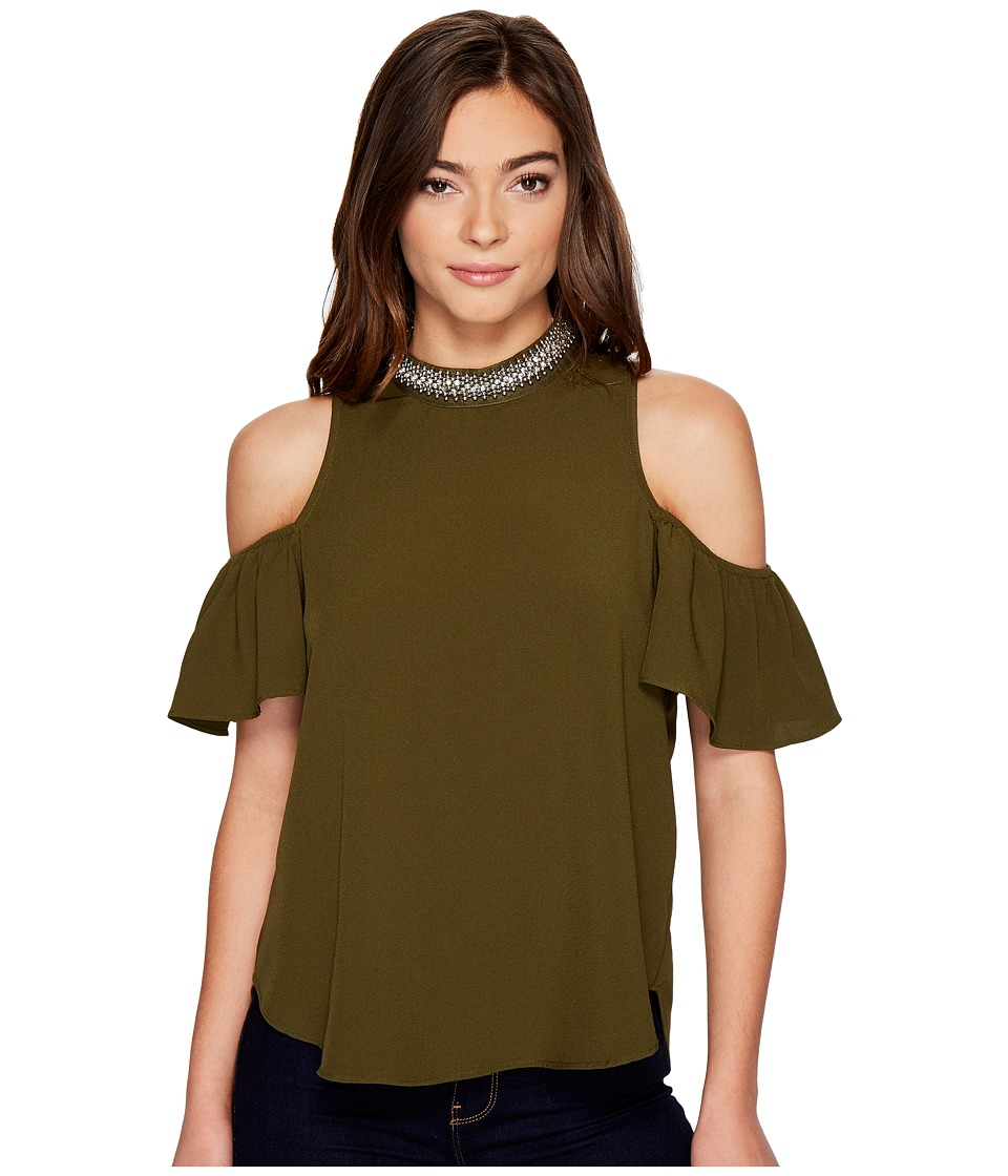 XOXO - Trimmed Mock Neck Cold Shoulder Top (Olive) Women's Clothing