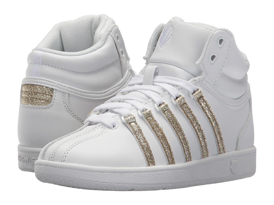 K-Swiss Kids Classic VN Midtm (Little Kid) (White/Gold Sparkle) Girls Shoes