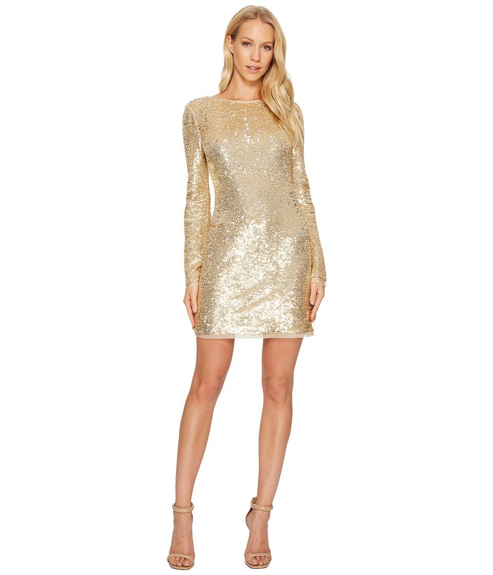 Rachel Zoe All Over Sequin Long Sleeve Racko Dress Gold Women