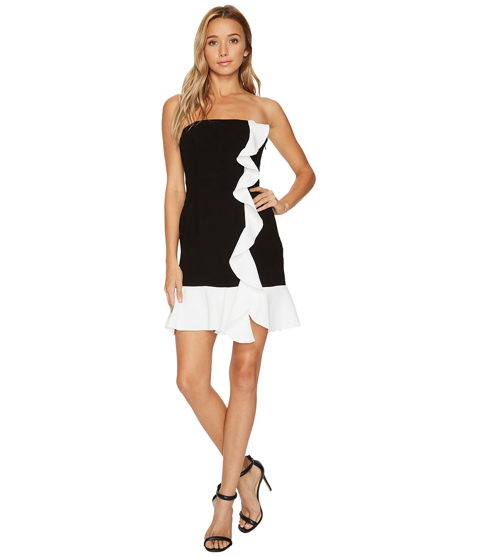 Rachel Zoe Stretch Crepe Strapless Ashby Mini Dress (Black/Ecru) Women