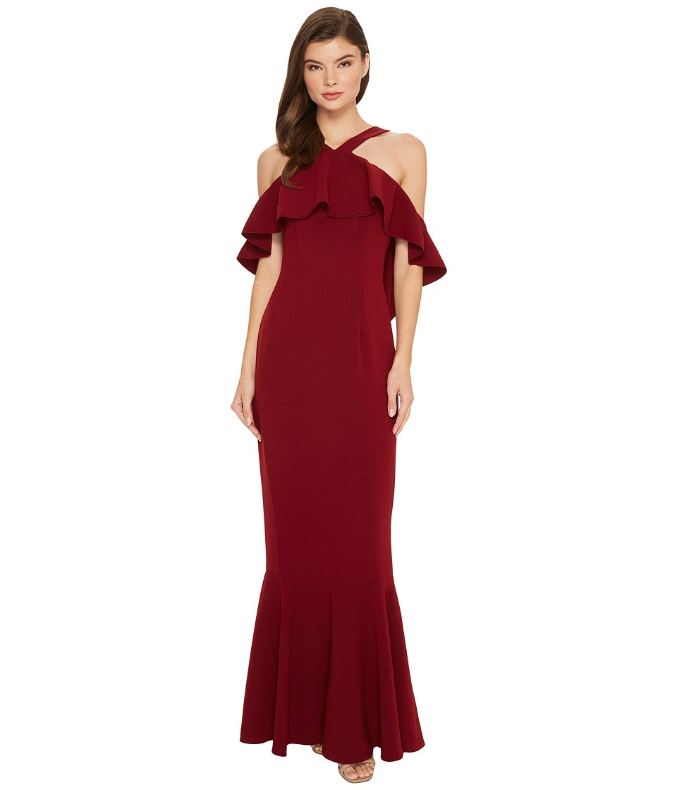 Rachel Zoe Stretch Crepe Baxter Maxi Dress (Sangria) Women