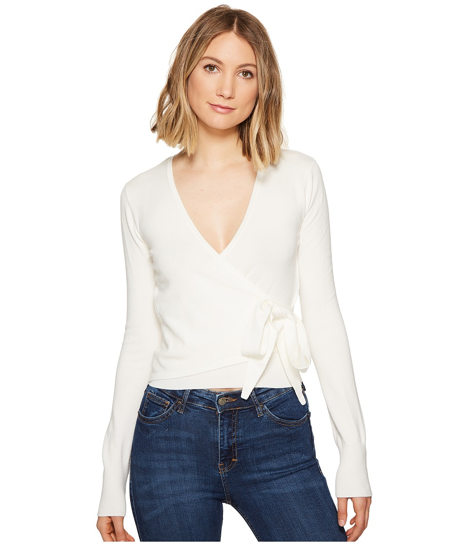 XOXO - Long Sleeve Wrap Front Cardigan (Ivory) Women's Sweater