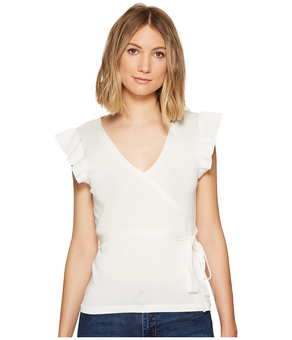 XOXO - Short Sleeve Wrap Front Ruffle Sleeve Top (Ivory) Women's Clothing