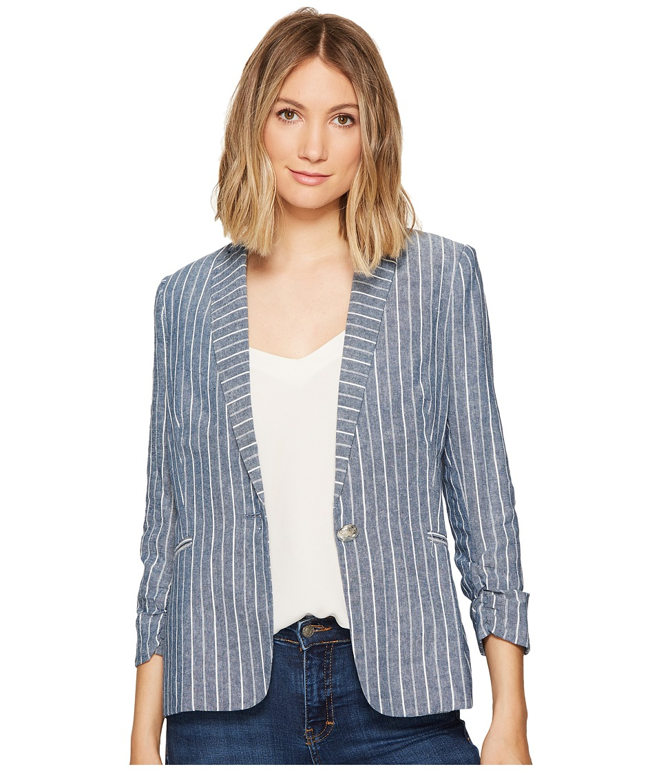 XOXO - Linen Stripe Jacket (Ivory/Navy 9) Women's Coat