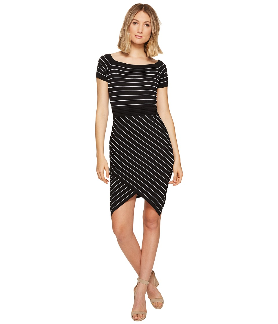 XOXO - Off the Shoulder Stripe Dress (Black/White) Women's Dress
