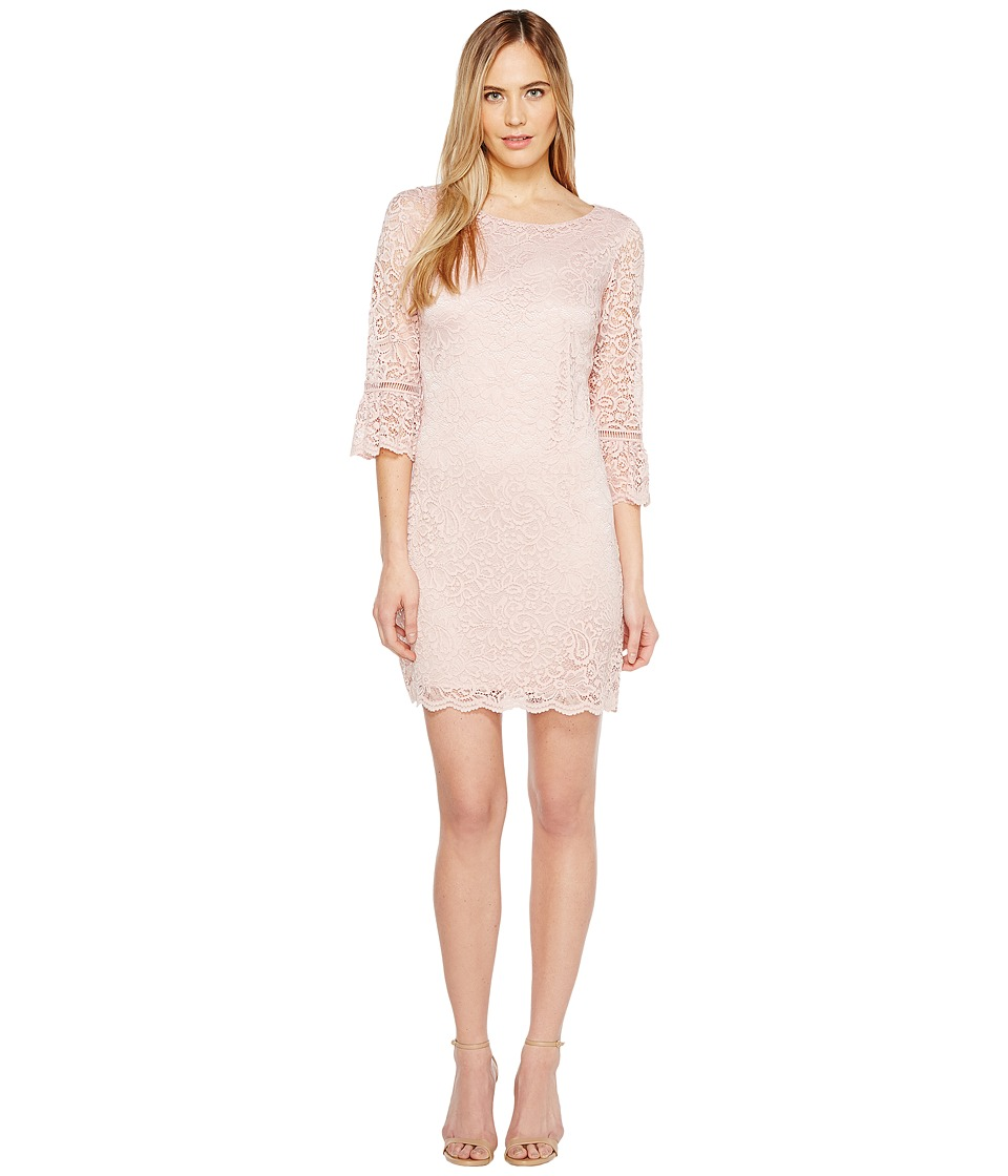 Laundry by Shelli Segal - Lace Dress with 3/4 Sleeve (Tinted Blush) Women's Dress