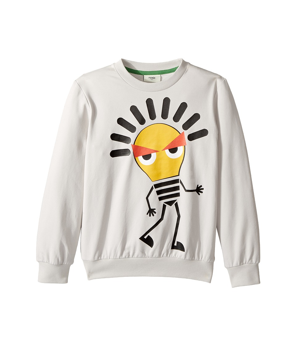 Fendi Kids - Long Sleeve Sweat Top w/ Lightbulb Design on Front (Little Kids) (Light Grey) Boy's Sweatshirt
