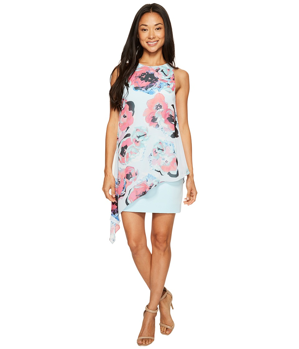 Tahari by ASL Petite - Petite Floral Chiffon Overlay Dress (Sky/Fuchsia/Black) Women's Dress