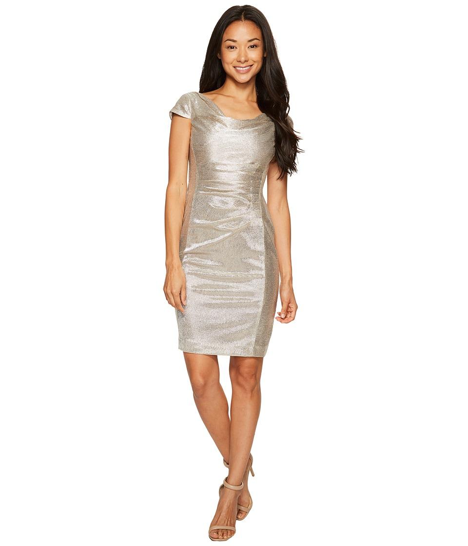 Tahari by ASL Petite Petite Metallic Knit Dress (Silver Powder) Women