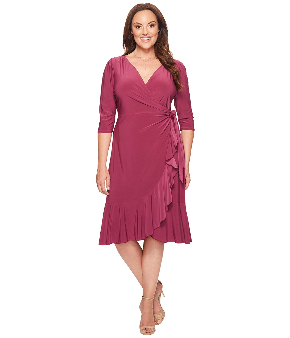 Kiyonna Whimsy Wrap Dress (Magenta) Women's Dress