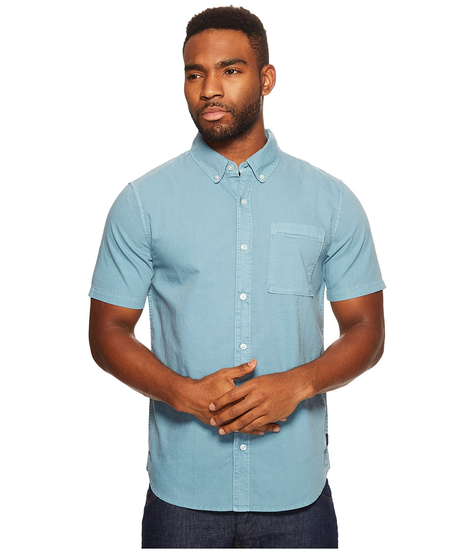 Roark - Well Worn Oxford Short Sleeve (Blue) Men's Clothing