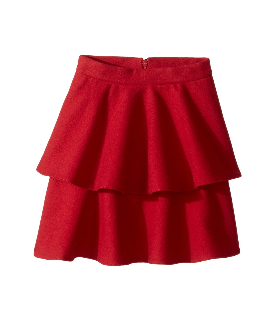 Oscar de la Renta Childrenswear - Wool Tiered Skirt (Toddler/Little Kids/Big Kids) (Ruby) Girl's Skirt
