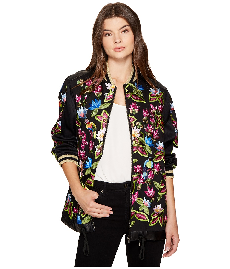 Nicole Miller - Whimsical Jungle Leather Embroidered Bomber (Multi) Women's Coat