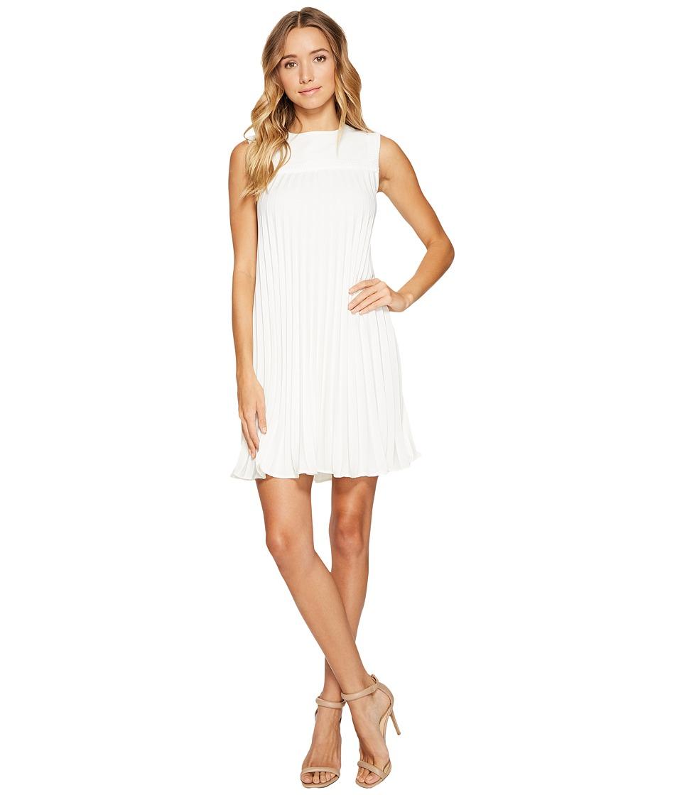Nicole Miller - Silk Pleated Party Dress (White) Women's Dress