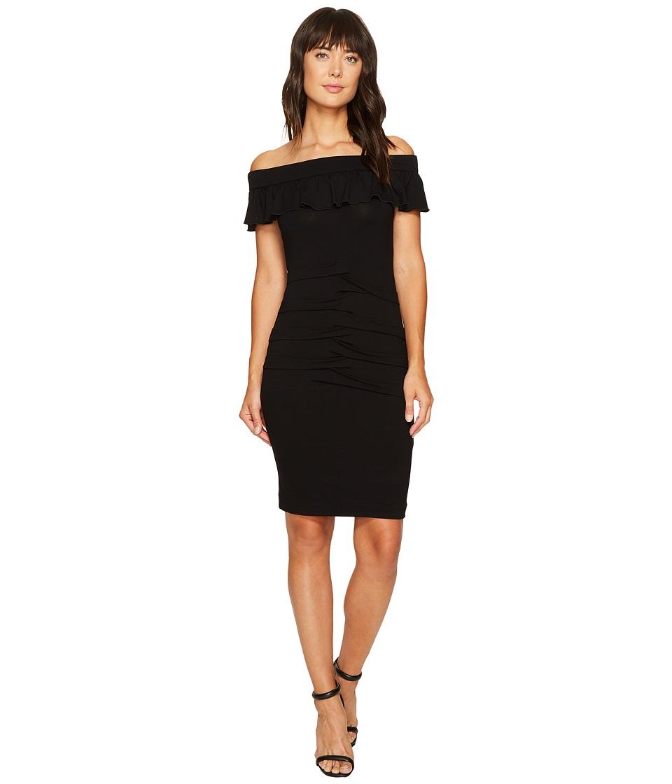 Nicole Miller Minka Jersey Off the Shoulder Dress (Black) Women