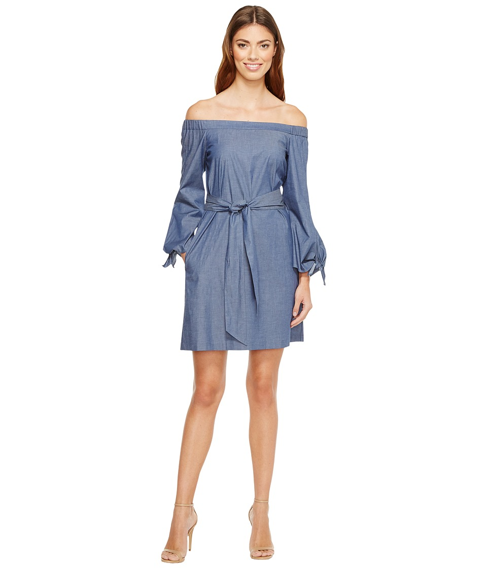 Donna Morgan - Off Shoulder with Tie Sleeve Dress (Chambray) Women's Dress