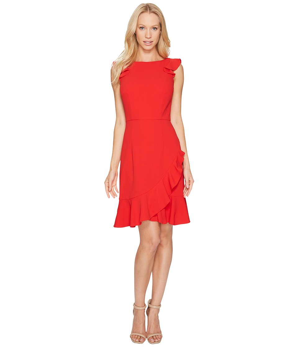 Donna Morgan - Sleeveless Crepe Dress with Ruffle Hem (Red) Women's Dress