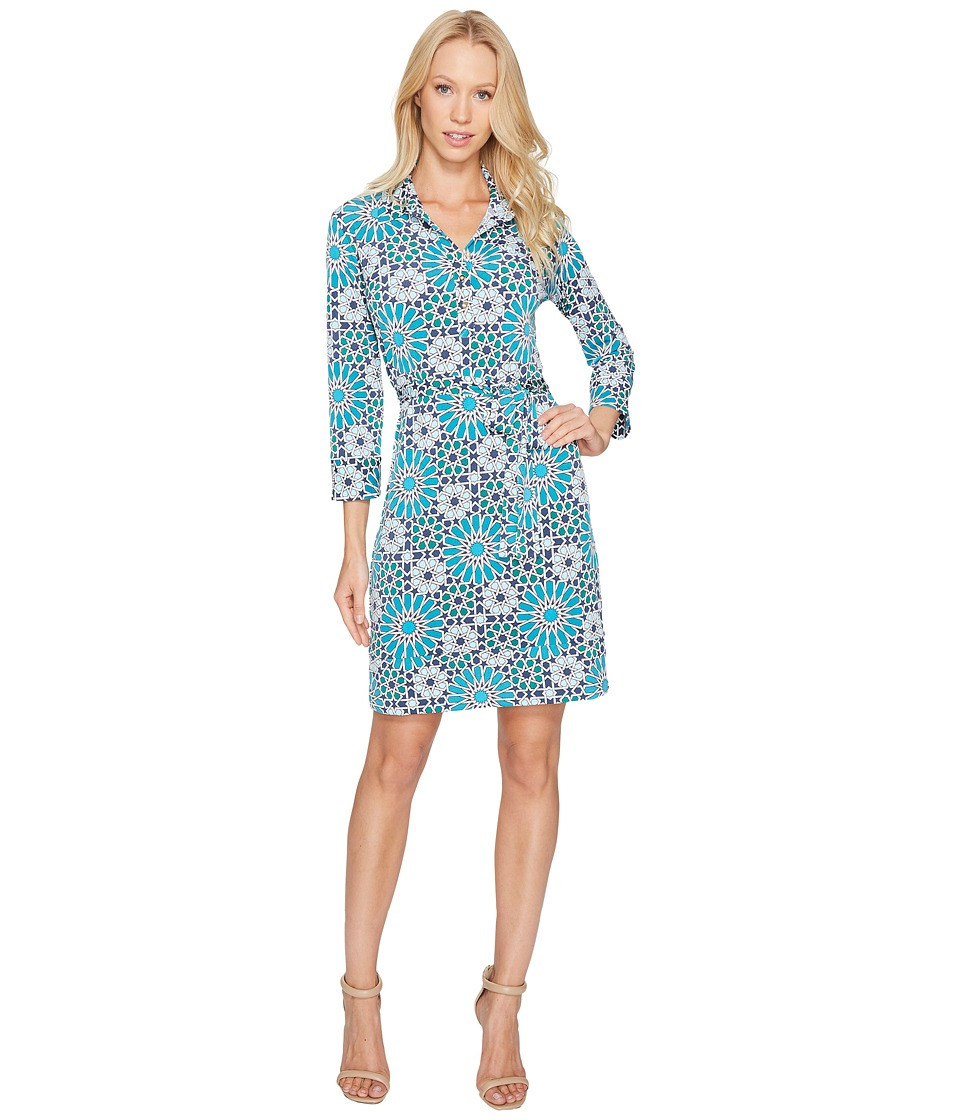 Donna Morgan - 3/4 Sleeve Jersey Shirtdress (Summer Ivory/Deep Sea Turquoise Multi) Women's Dress