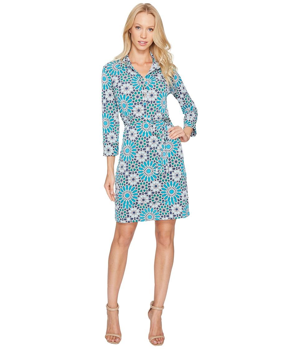 Donna Morgan - 3/4 Sleeve Jersey Shirtdress (Summer Ivory/Deep Sea Turquoise Multi) Women's Dress