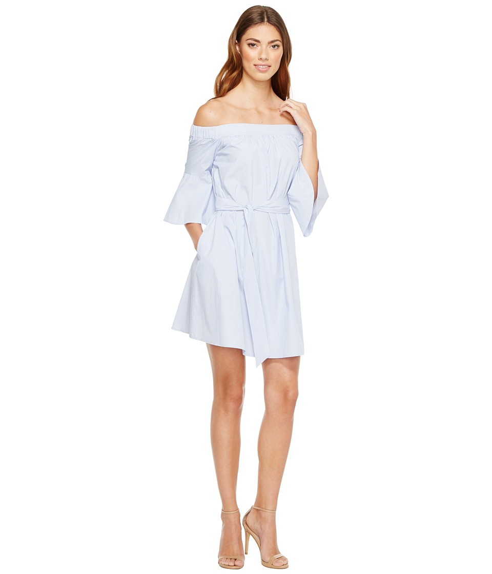 Donna Morgan - Off Shoulder Bell Sleeve Dress with CF Inverted Pleat (Blue/White) Women's Dress