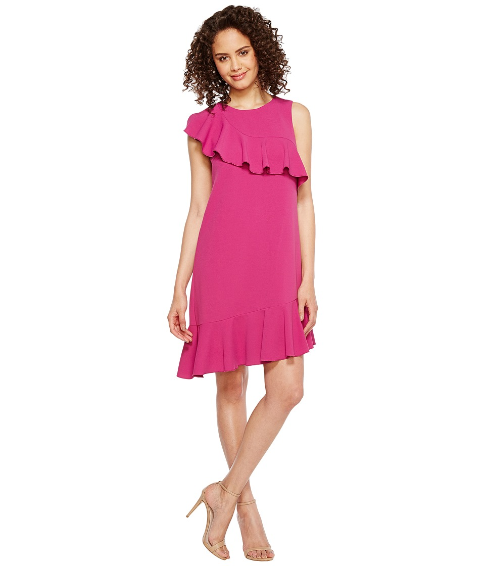 Donna Morgan - Sleeveless Asymmetrical Ruffle Dress (Raspberry) Women's Dress