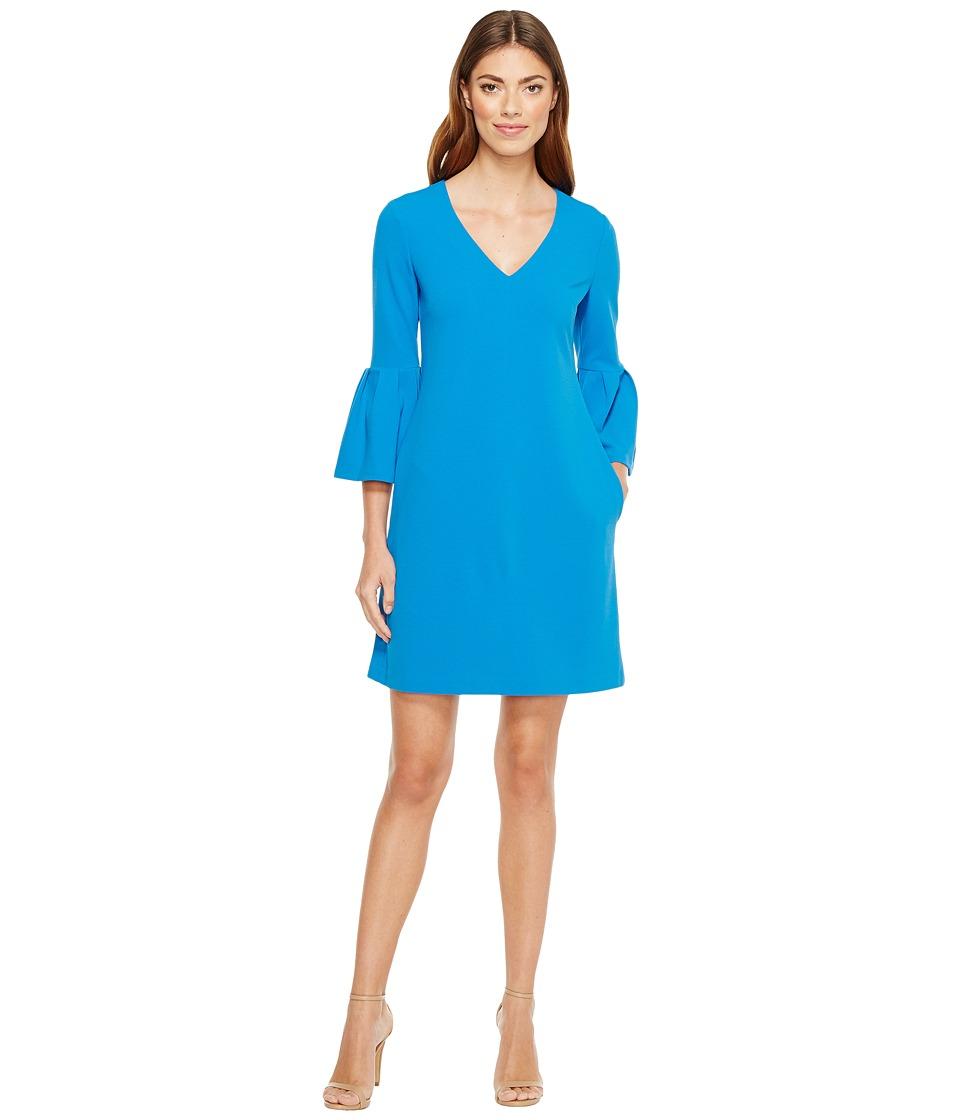 Donna Morgan - 3/4 Bell Sleeve Crepe Shift with V-Neck (New Aqua) Women's Dress