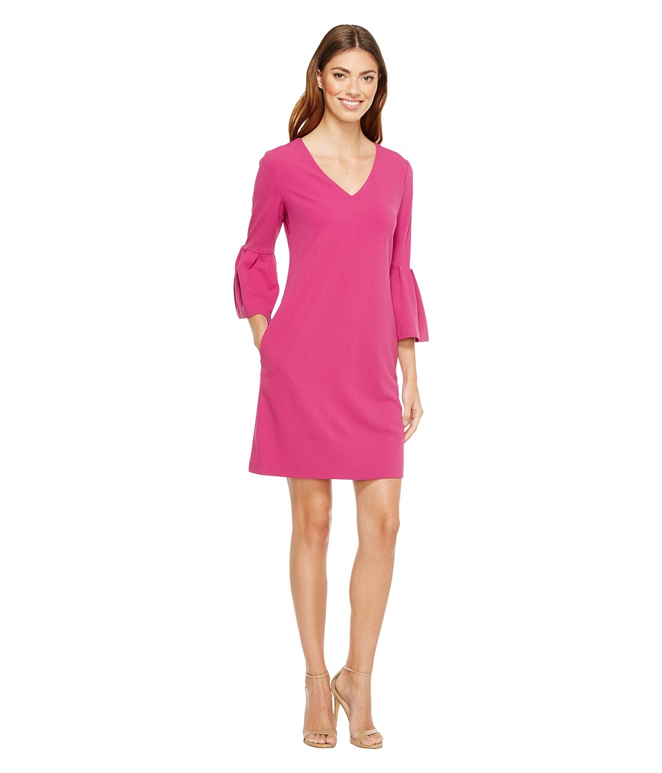 Donna Morgan - 3/4 Bell Sleeve Crepe Shift with V-Neck (Raspberry) Women's Dress