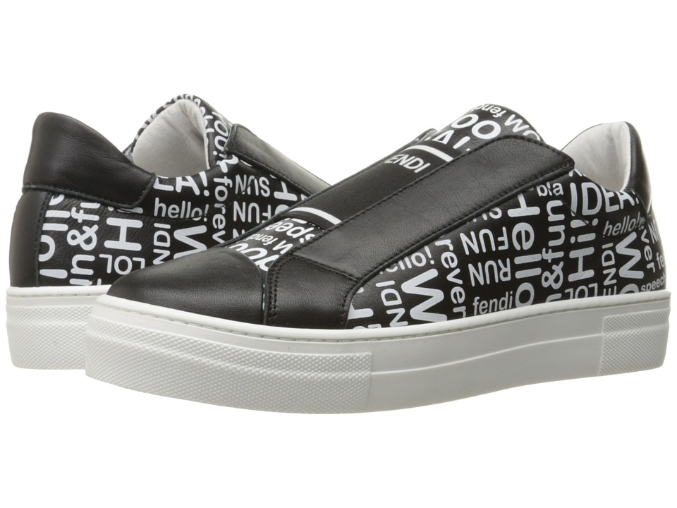 Fendi Kids - Word Print Slip-On Sneakers (Big Kid) (Black) Boy's Shoes