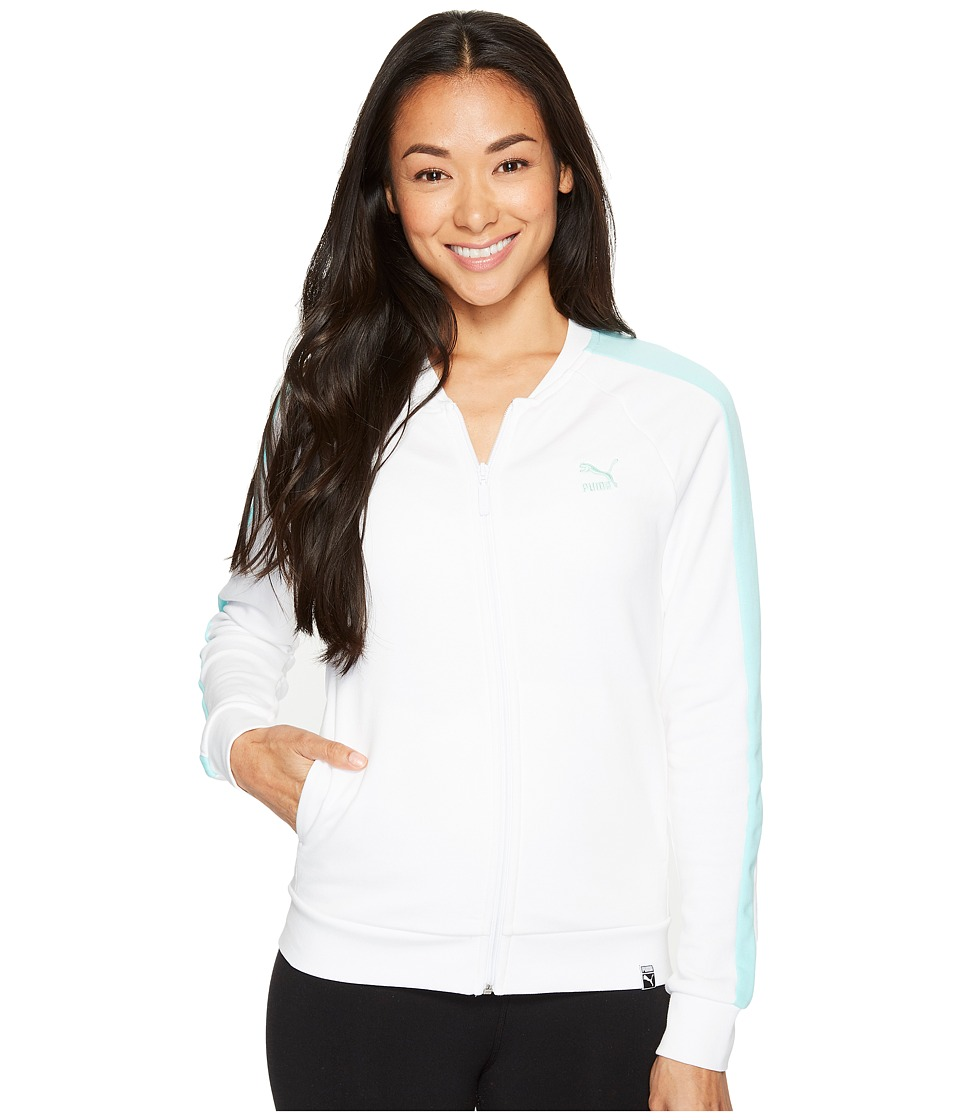 PUMA - Archive Logo T7 Track Jacket (Puma White/Aruba Blue) Women's Coat