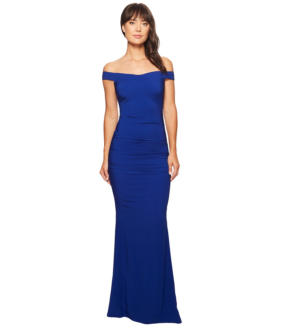 Nicole Miller - Drop Shoulder Gown (Royal Navy) Women's Dress
