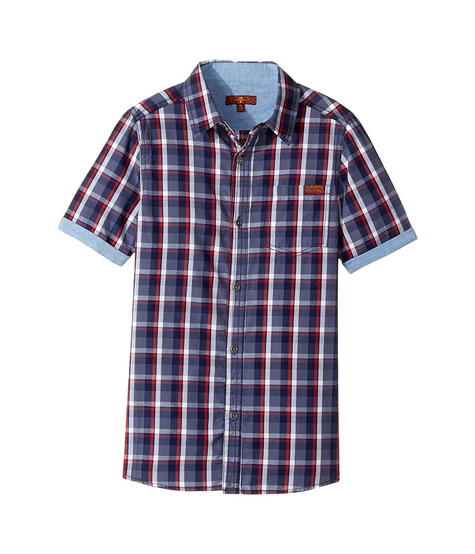 Image of 7 For All Mankind Kids - Button Down Short Sleeve Woven (Big Kids) (Peacock Plaid) Boy's Clothing