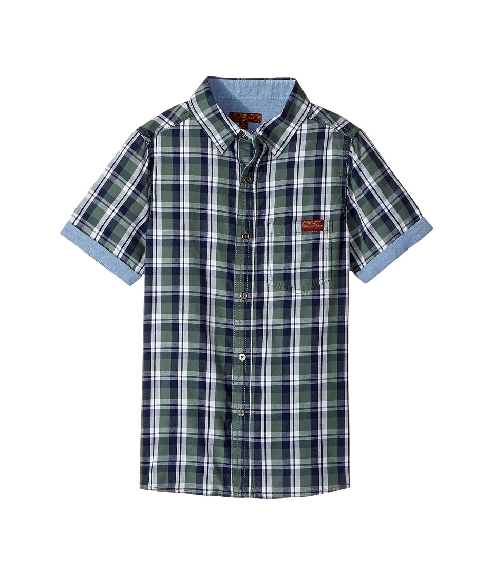 7 For All Mankind Kids - Button Down Short Sleeve Woven (Big Kids) (Dark Forest Plaid) Boy's Clothing