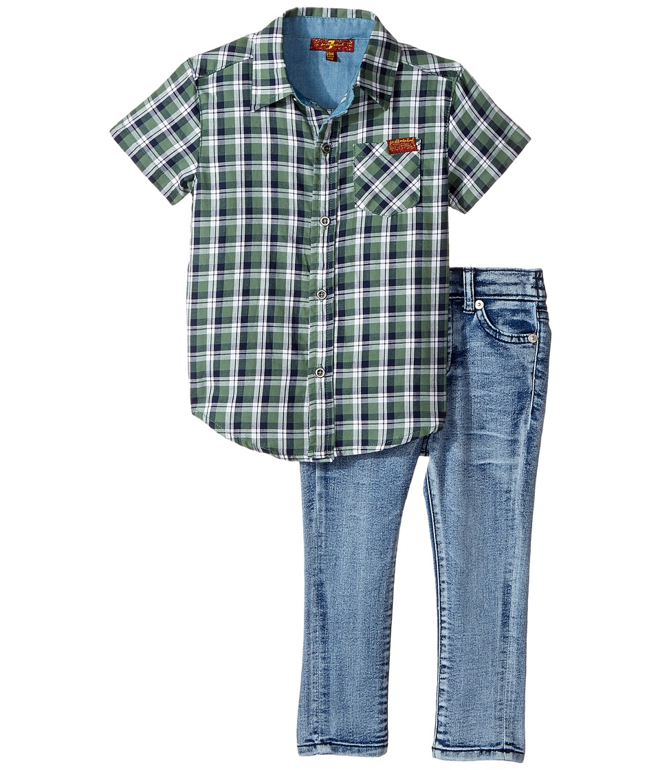 7 For All Mankind Kids - Two-Piece Woven Shirt and Jeans Set (Infant) (Dark Forest Plaid) Boy's Active Sets
