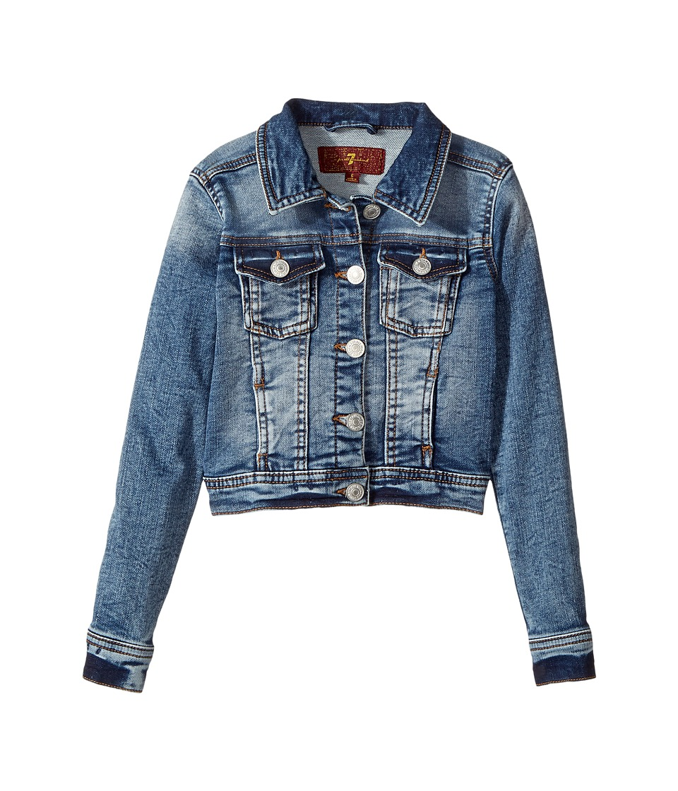 7 For All Mankind Kids - Denim Jacket (Little Kids) (Bleached Indigo) Girl's Jacket