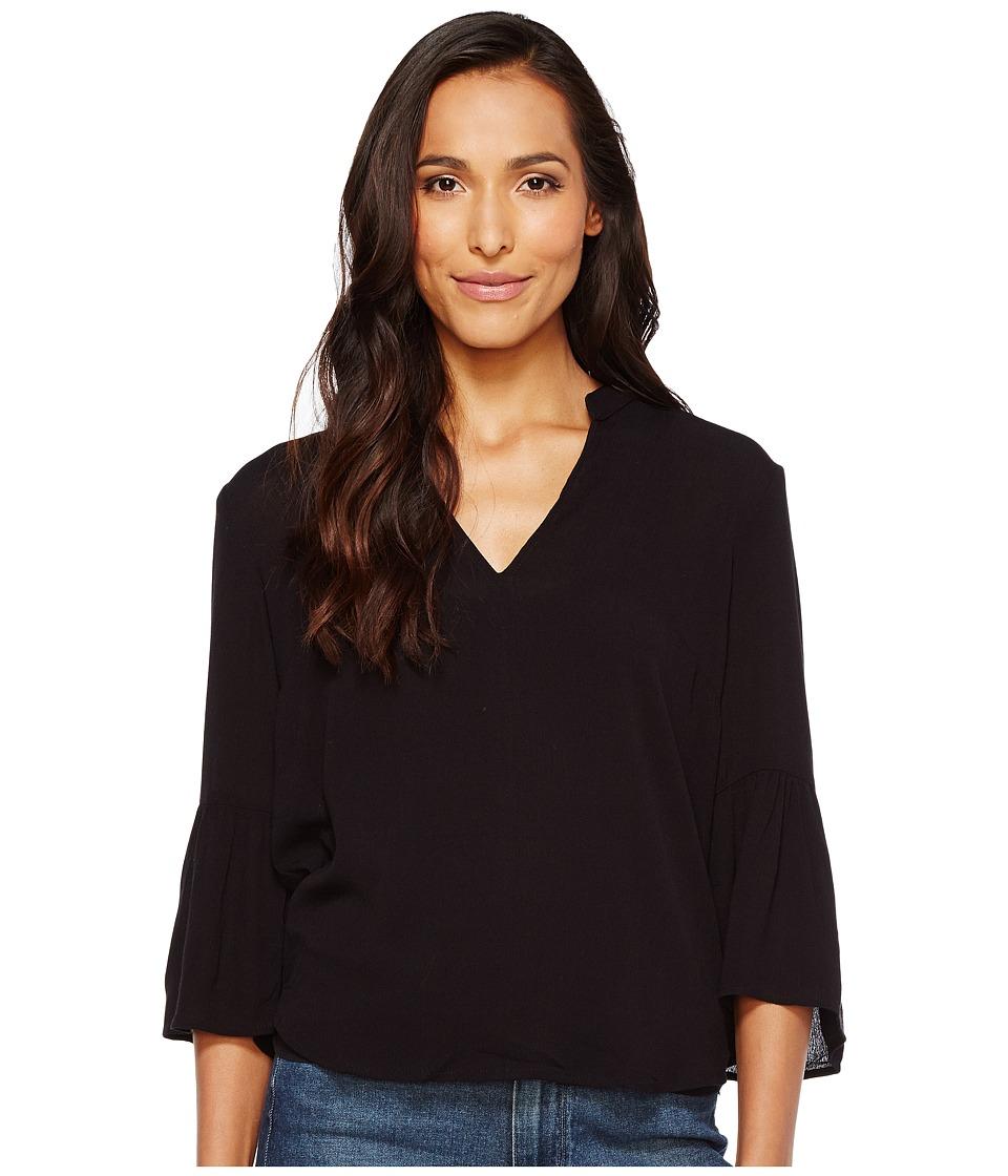 Splendid - Rayon 3/4 Ruffle Sleeve Button Down Top (Black) Women's Long Sleeve Button Up
