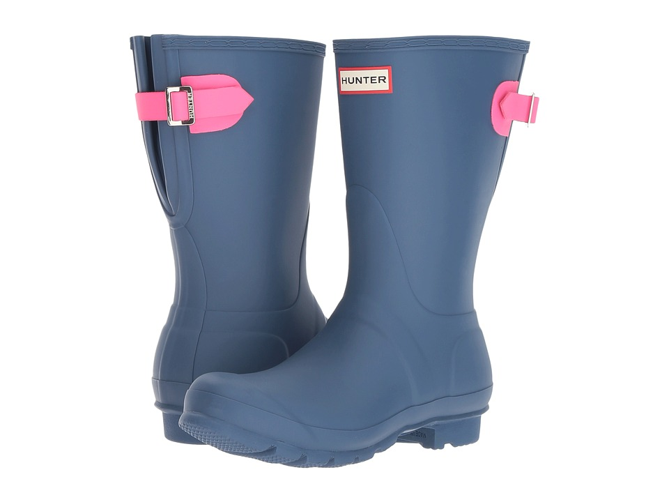 Hunter Original Short Back Adjustable Rain Boots (Dark Earth Blue/Ion Pink) Women