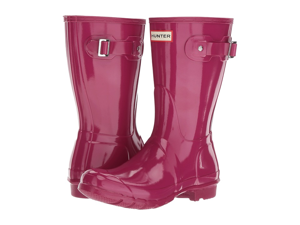 Hunter Original Short Gloss Rain Boots (Dark Ion Pink) Women