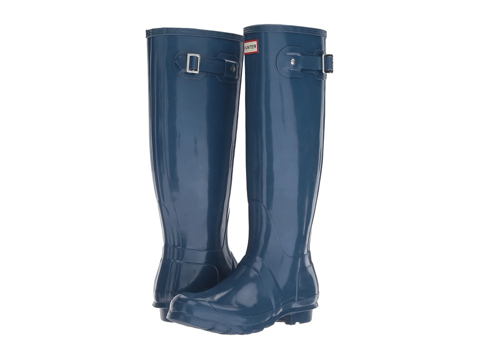 Hunter Original Tall Gloss Rain Boots (Dark Earth Blue) Women