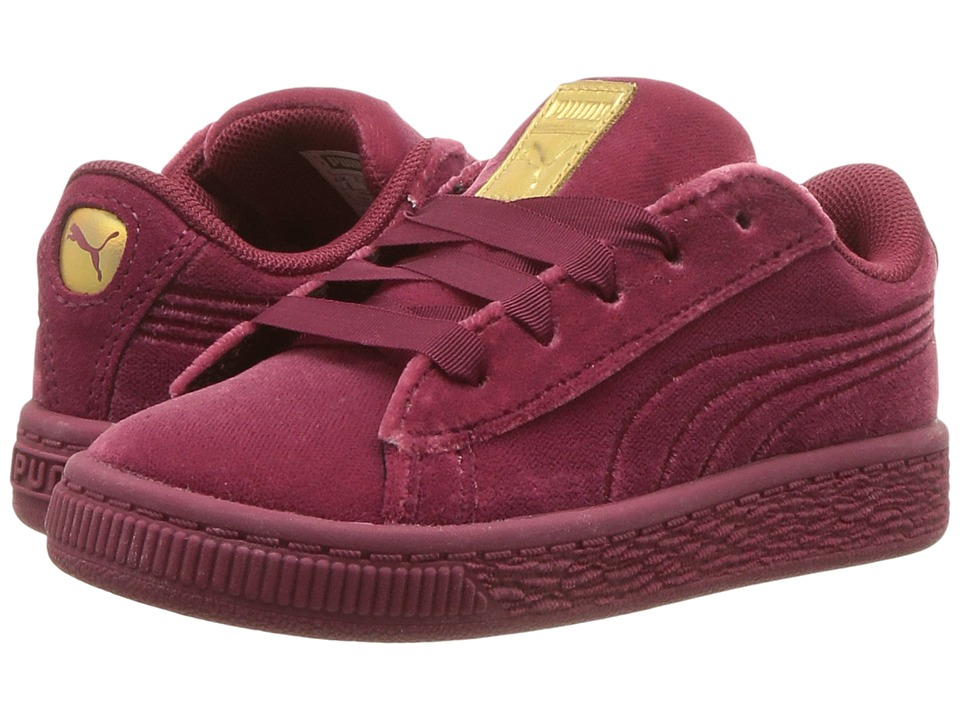 Puma Kids Basket Classic Velour (Toddler) (Tibetan Red/Metallic Gold) Girls Shoes