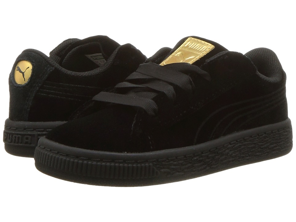 Puma Kids Basket Classic Velour (Toddler) (Puma Black/Metallic Gold) Girls Shoes